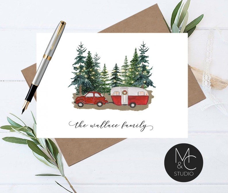Personalized Winter VW Camping Christmas Card Set