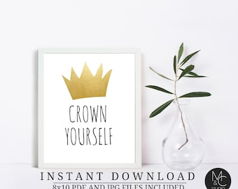 """Crown Yourself 8""""x10"""" Birthday Party Printable, Where The Wild Things Are, Birthday Party Supplies instant download, Gold Table Sign"""