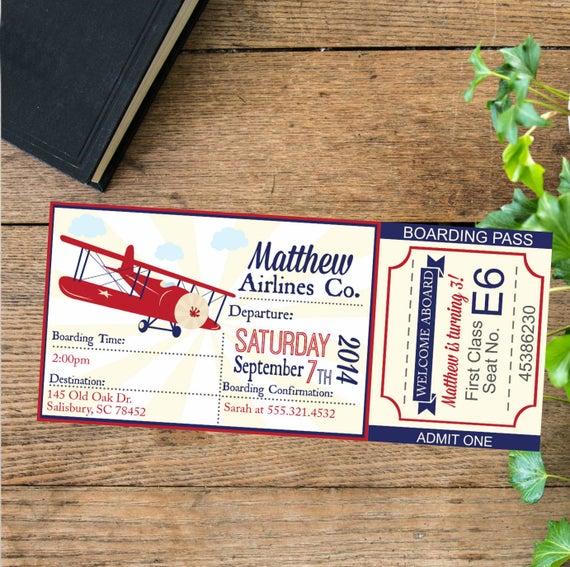 Airplane Birthday Invitation Diy Printable By Vindee On Etsy: Airline Ticket Invitation Airplane Birthday Invite Ticket