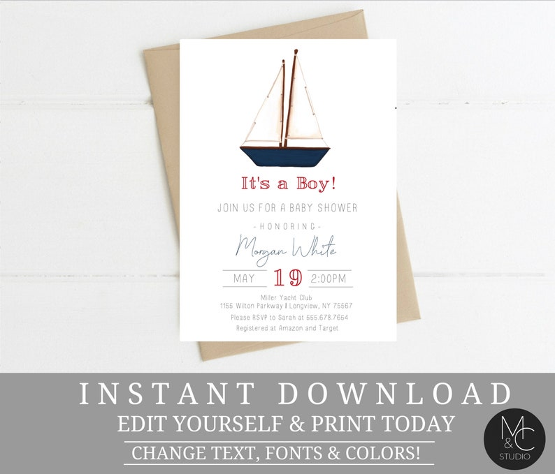 Sailboat Baby Shower Invite Boy Invitation Nautical Printable Instant Download T24