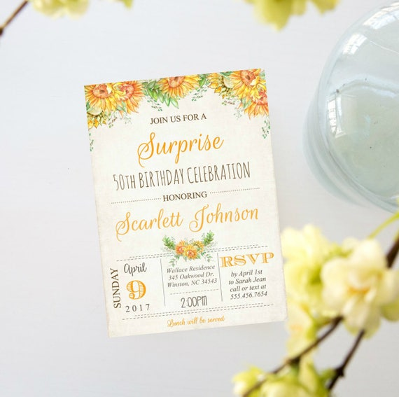 surprise birthday party invitation sunflower rustic country