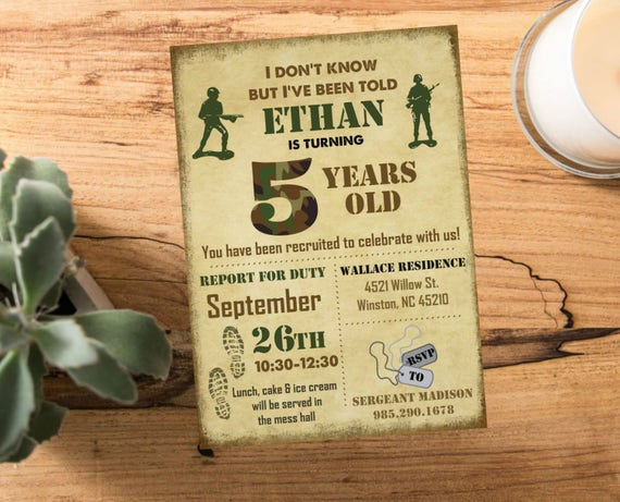Army Man Camo Military Birthday Party Vintage Military Invite