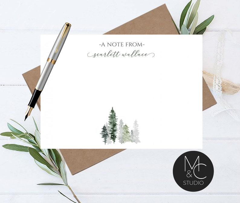 Flat Note Cards Masculine Professional Outdoor Winter Tree Stationery Set Note Card Evergreen Tree Christmas Gift Thank You Woods