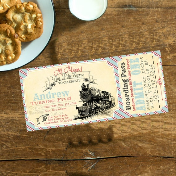 photo relating to Printable Polar Express Tickets Boarding Passes referred to as Polar Categorical Basic Birthday Invitation Teach Ticket