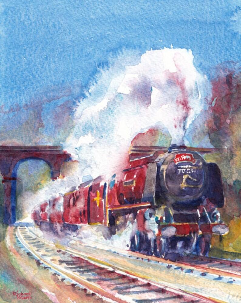 Steam Train Print Steam Engine Mounted Print Railway Print Etsy