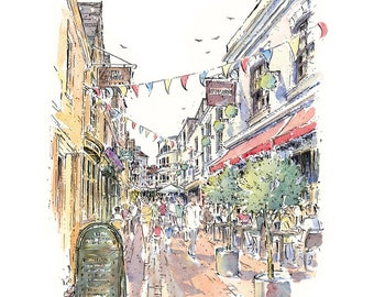 THE LANES BRIGHTON, Brighton Print, Mounted Print,Shopping Print,Cafe Scene,Shopping Illustration,Pen and Ink,City Prints,Townscape,City Art