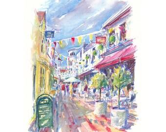 THE LANES BRIGHTON, Flags, Mounted Print,Shopping Print,Cafe Scene,Shopping Illustration, Illustration Print,Visual Art,Townscape,City Art