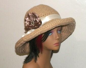 780ea88457b Hat Summer Beach Tan Beige Sunhat Boater Garden Hippie Boho Chemo Crochet  Straw Color Hat Inspired Womens Panama Sun Bonnet
