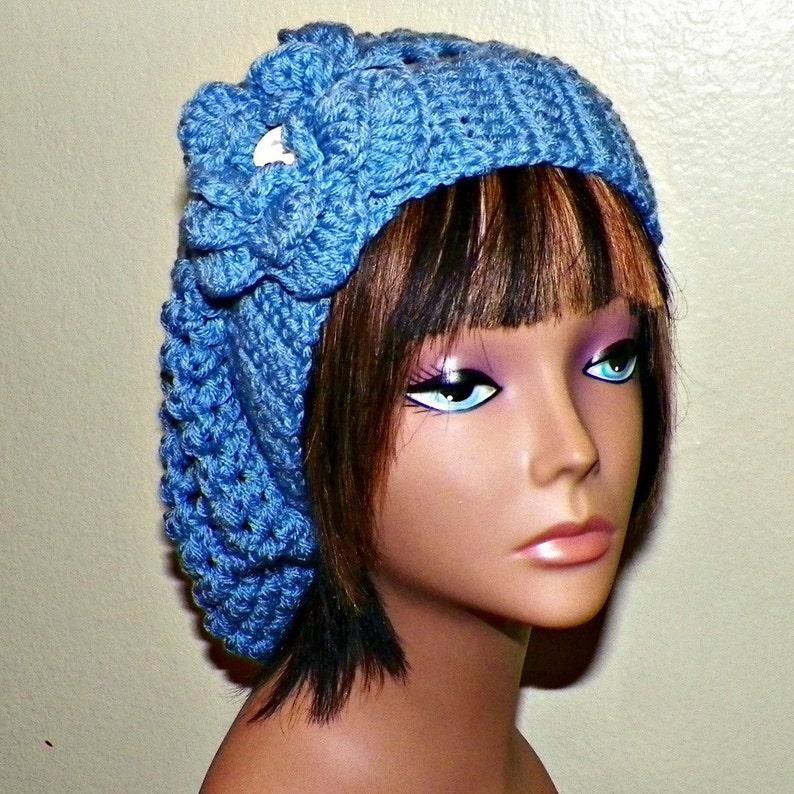 041e6e6d1d5 Blue Slouchy Hat Crochet Womens Summer Tam Beret Boho Mesh