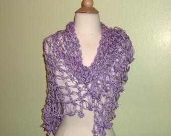Crochet Shawl Triangle Purple Lavender Lace Bridal Wedding Wrap Scarf Boho Summer Wrap