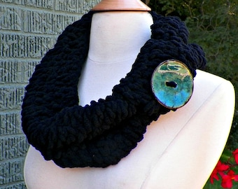 Black Scarf Cowl Infinity Chunky Button Neckwarmer Winter Over Sized Womens Winter Scarf