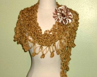 Crochet Shawl Triangle Honey Gold Lace Bridal Wedding Wrap Scarf Boho Summer Wrap With Flower Brooch