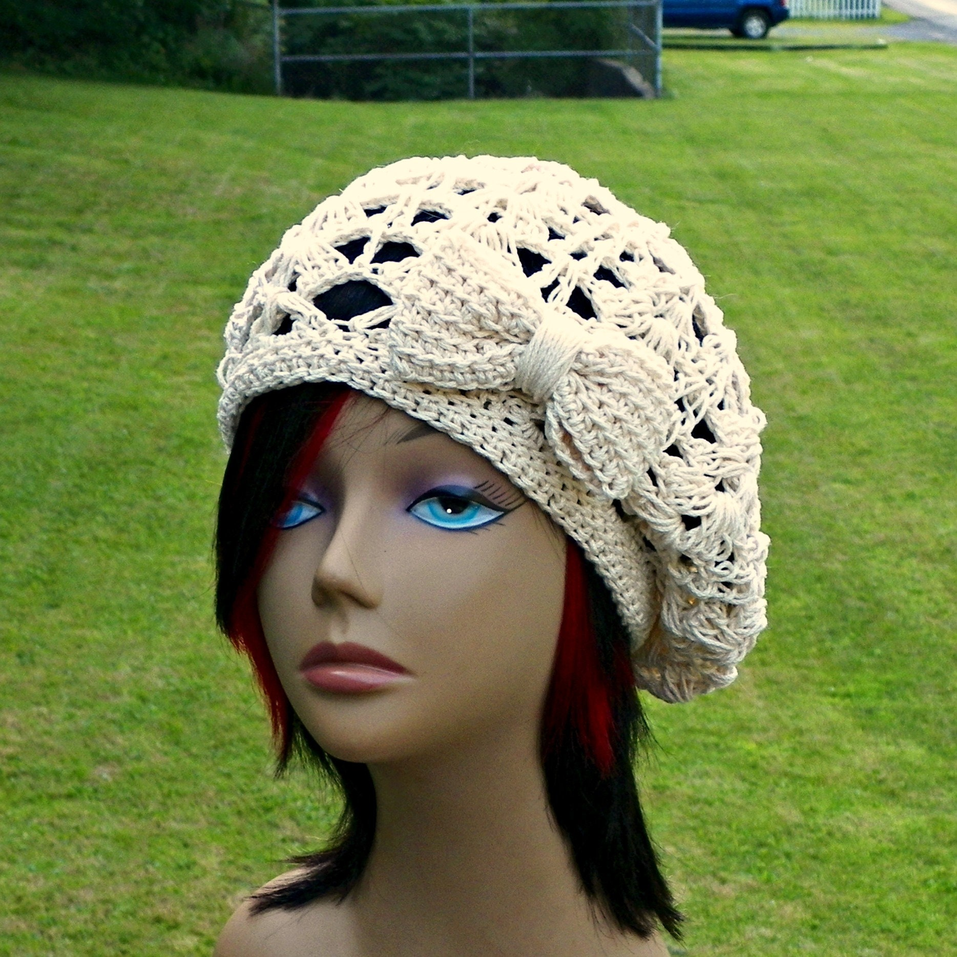6adc792665b Cotton Beret Hat Summer Slouchy Crochet Cream Ivory Color