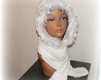 White  Hood Scarf Hoodie With Faux Fur Mitten Pockets Long Oversized Scoofie Winter Crochet Extra long Skinny Scarf