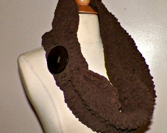 Brown Cowl Infinity Scarf Brown Chunky Button Neckwarmer Winter Over Sized Earth Tone
