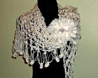 Ivory Crochet Shawl Triangle Lace Bridal Wedding Wrap Scarf Boho Summer Wrap With Flower Brooch