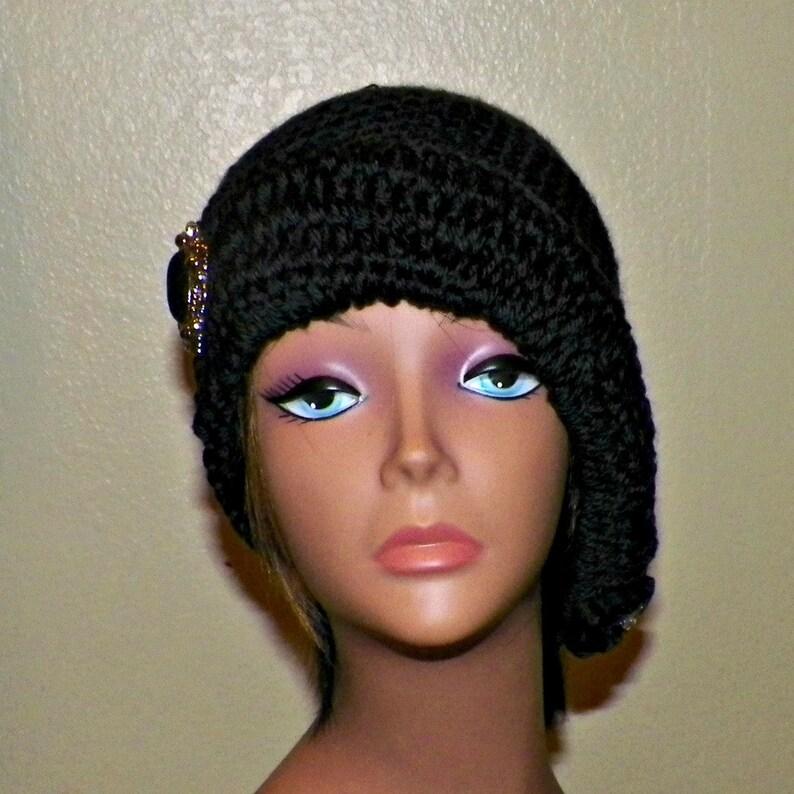 8a691c7c614 Black Cloche Hat Flapper Womens Button And Bow Chemo Downton