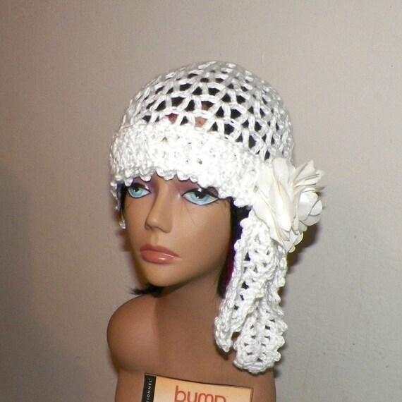 10e0096ad White Hat Gypsy Flapper Cloche Summer Festival Hippie Irish Lace Chemo  Button Boho Crochet Mesh