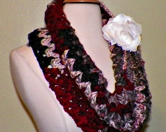 Infinity Scarf Cowl Red Gray Black Chunky Neckwarmer  Winter  With Flower Brooch