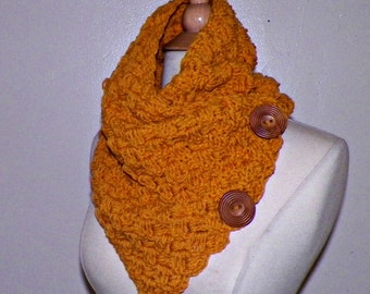Infinity Scarf Cowl Button Neckwarmer Winter Mustard Yellow Gold Freeform Crochet