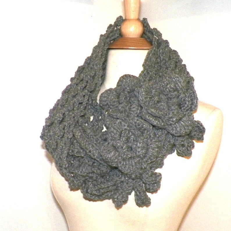 d5fe65a1959 Infinity Scarf Cowl Heather GrayTraditional Irish Lace Circle Mesh Chunky  Neckwarmer Winter With Flower Brooch Long