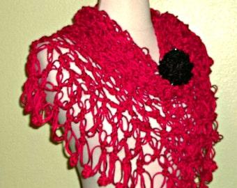Crochet Shawl Triangle Red Lace Bridal Wedding Wrap Scarf Boho Summer Wrap With Brooch