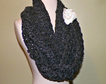 Long Scarf Infinity Cowl Dark Gray Chunky Neckwarmer  Winter  With Flower Brooch