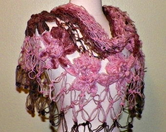 Mohair Crochet Shawl Triangle Pink Gray And Black Lace Bridal Flower Floral Wedding Wrap Scarf Boho Summer Wrap