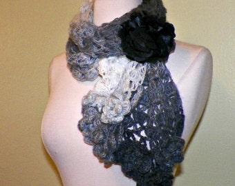 Gray Scarf Scarf Black Winter White Freeform Crochet Irish Rose Flowers Leaves Mohair