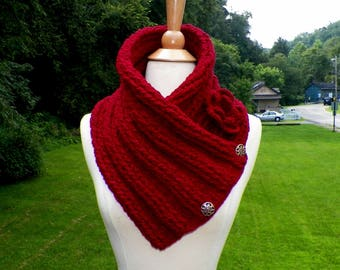 Scarf Red Burgundy Triangle Infinity  Outlander Cowl Oversized Celtic Highland Chunky Gold Neckwarmer Winter Crochet Knit Womens