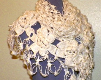 Mohair Crochet Shawl Triangle Ivory Off White Cream Lace Bridal Flower Floral Wedding Wrap Scarf Boho Summer Wrap