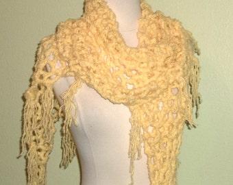 Crochet Shawl Triangle Yellow Mesh Lace Bridal Wedding Wrap Scarf Boho Summer Wrap