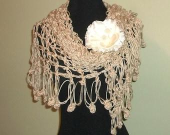 Crochet Shawl Triangle Golden Biscut Tan Beige Lace Bridal Wedding Wrap Scarf Boho Summer Wrap With Flower Brooch