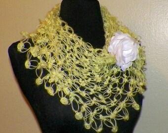 Yellow Shawl Triangle Scarf Irish Boho Crochet Mohair Lace Bridal Wedding Wrap Scarf