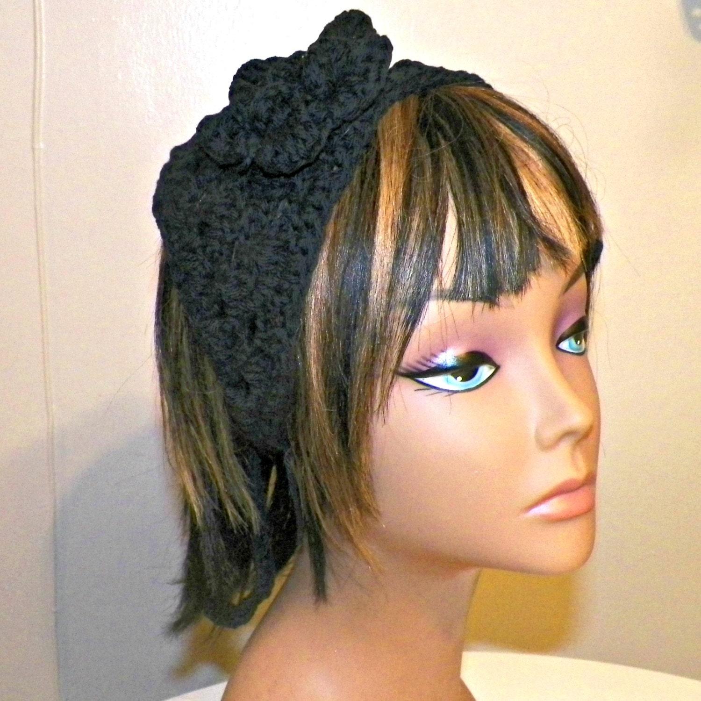 Cotton Hair Bandana Black Band Hippie Kerchief Triangle Head  9f399bc5cc2