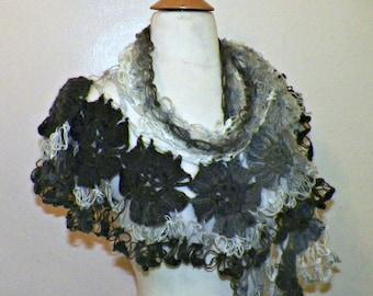Gray Shawl Triangle Mohair Festival Lace Bridal Flower Floral Wedding Wrap Scarf Boho Summer Wrap