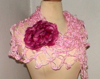 Crochet Shawl Triangle Pink Lace Bridal Wedding Wrap Scarf Boho  Wrap With Flower Brooch