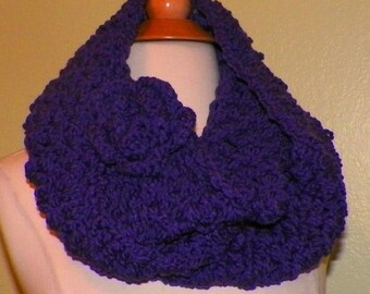 Purple Infinity Scarf Cowl  Chunky Neckwarmer Winter With Flower Brooch Extra Long