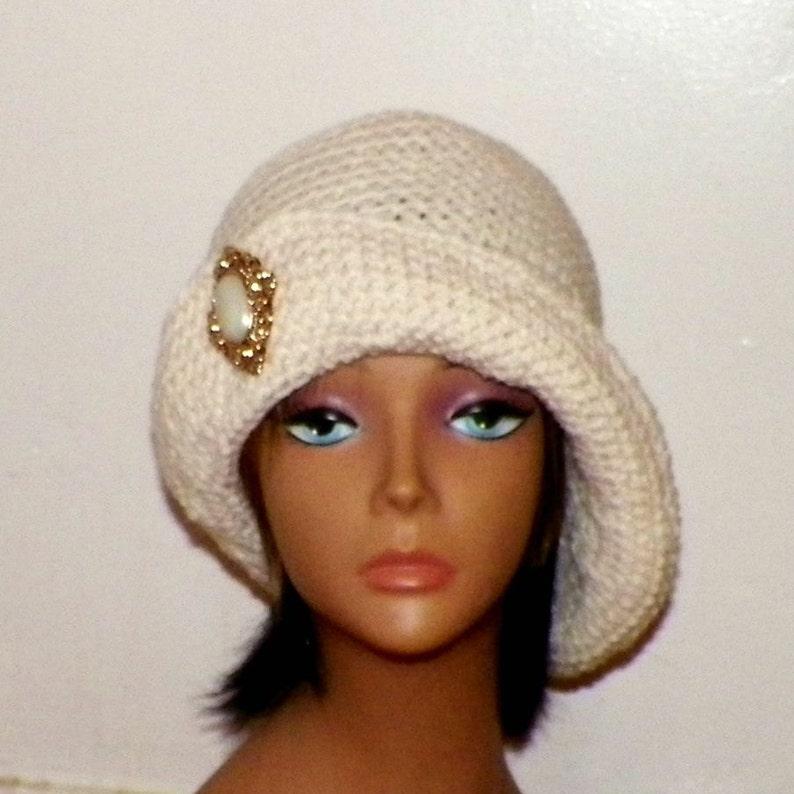2c34382ec1d Ivory Cloche Hat Flapper Cream Womens Button Downton Abbey
