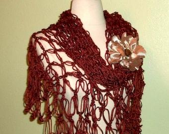 Crochet Shawl Triangle Bitteroot Rich Brown  Lace Bridal Wedding Wrap Scarf Boho Summer Wrap With Brooch