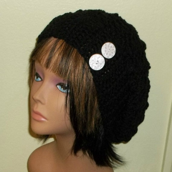 e276d885522 Slouchy Crochet Hat Black Rasta With White Buttons Womens Tam