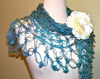 Blue Crochet Shawl Triangle Lace Bridal Wedding Wrap Scarf Boho Summer Wrap With Flower Brooch