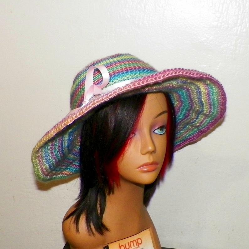 bd1385ec2 Boho Hat Summer Beach Sunhat Boater Garden Hippie Rainbow Pink Purple Blue  Boho Chemo Crochet Straw Hat Inspired Womens Panama Sun Bonnet