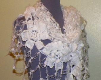 Mohair Crochet Shawl Triangle White Lace Bridal Flower Floral Wedding Wrap Scarf Boho Summer Wrap
