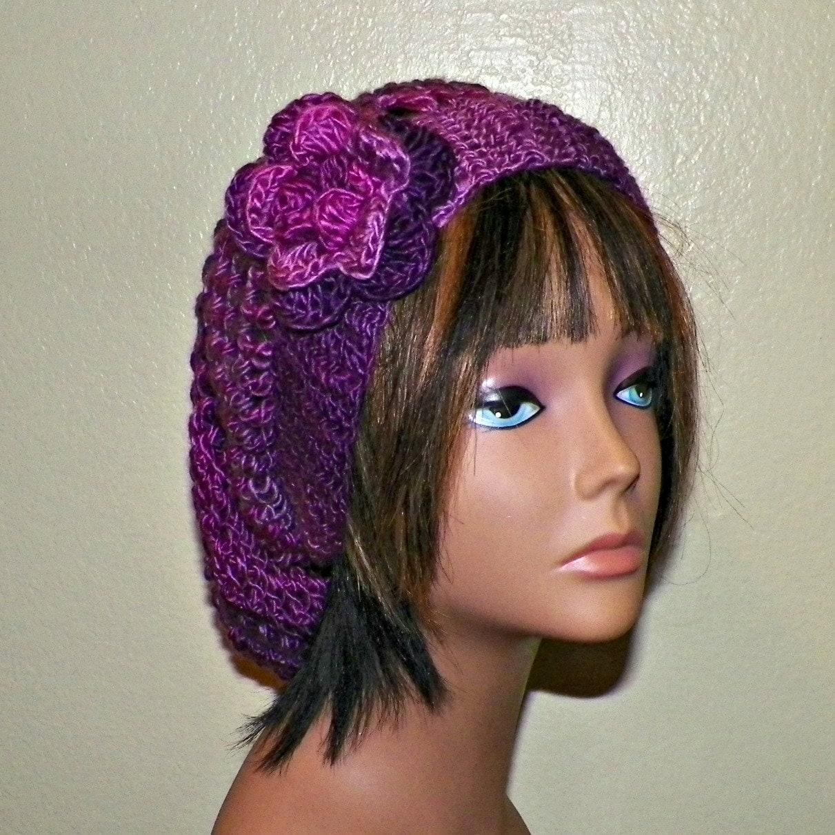 336e14ee0a4 Purple Slouchy Hat Womens Crochet Summer Winter Hippie Tam