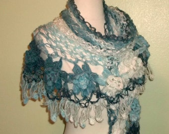 Mohair Crochet Shawl Triangle Blue And White Lace Bridal Flower Floral Wedding Wrap Scarf Boho Summer Wrap