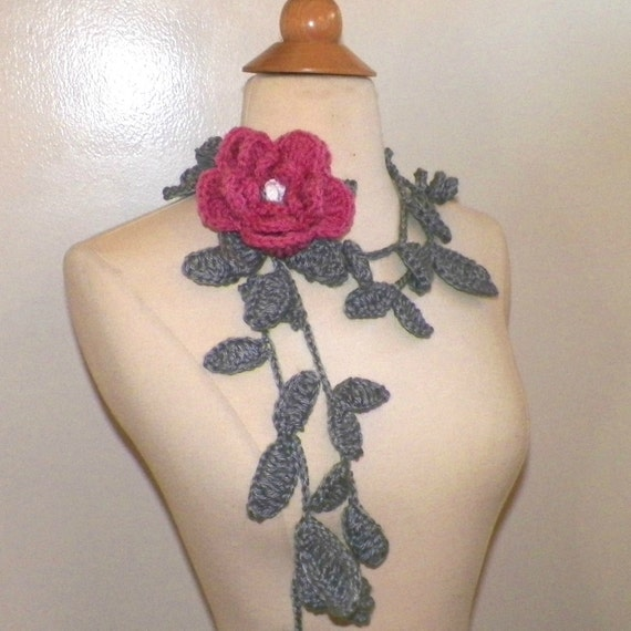 Crochet Flower Lariat Scarf Pink Rose Flower Necklace With Etsy