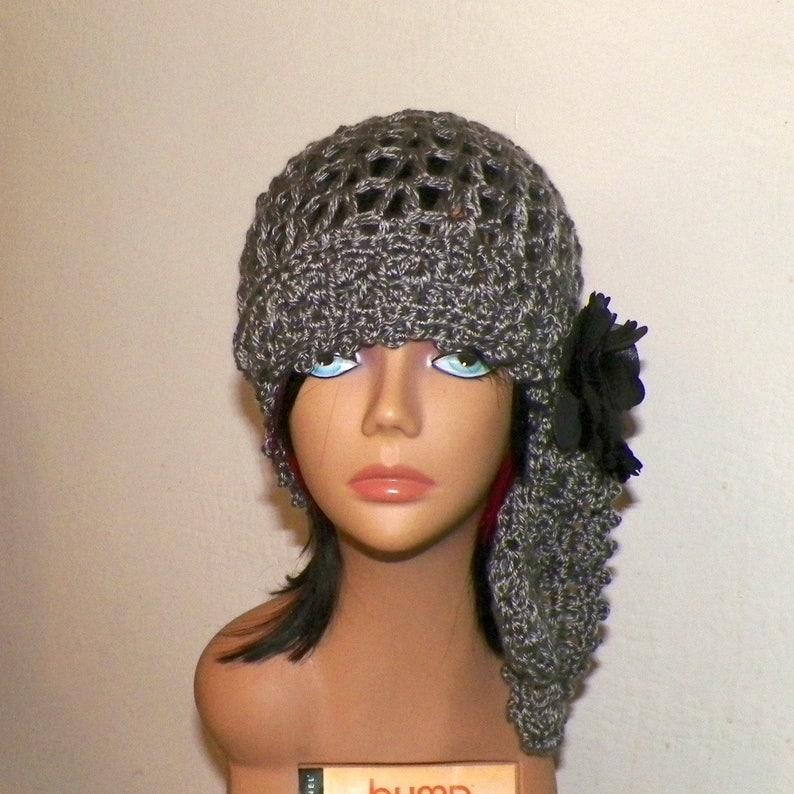 196e5db7e Gray Hat Gypsy Flapper Cloche Summer Festival Hippie Irish Lace Chemo  Button Boho Crochet Mesh