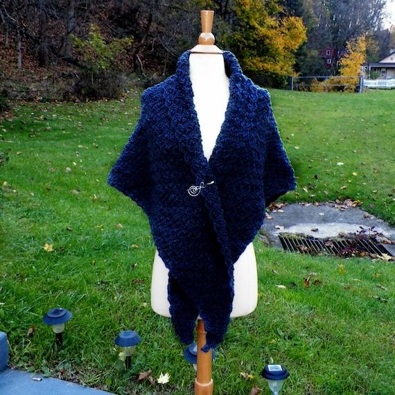 Crochet Shawl Handmade Medieval Larping Charcoal Gray Highland Inspired Capelet Renaissance