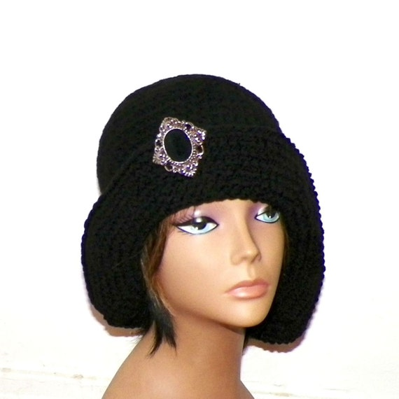 ef68fcf80fd Black Cloche Hat Flapper Womens Button Chemo Downton Abbey